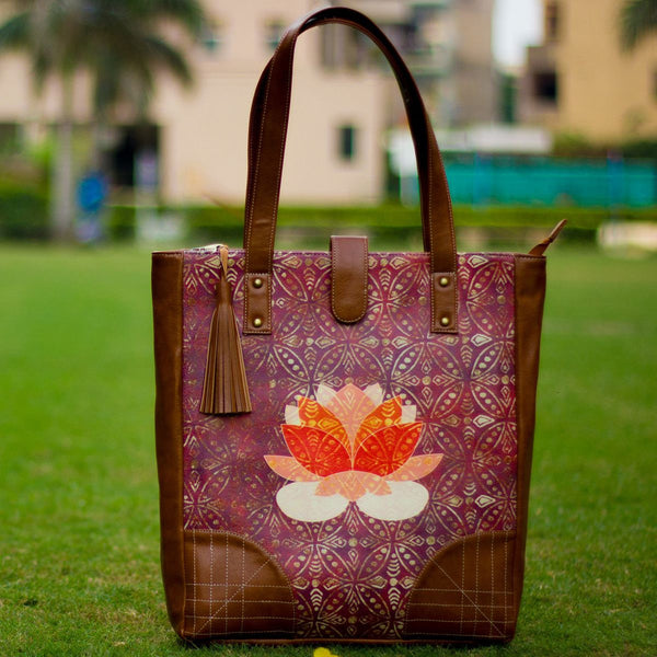 The Indian Red Lotus Series Casual Tote