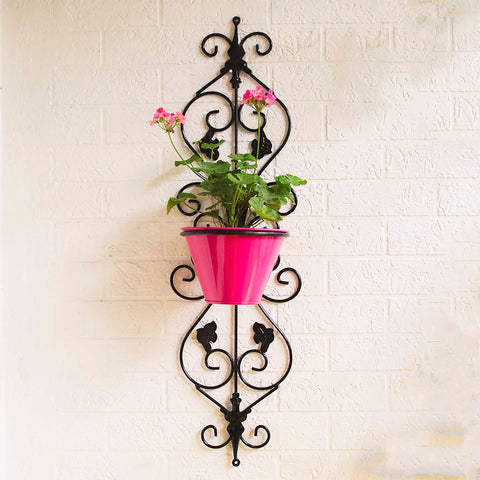 Tuscan Style Vertical Wall Mounted Planter With Pot