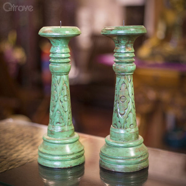 Alluring Green Handcrafted Candle Holder