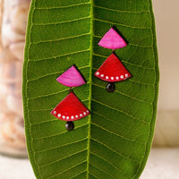 Eco-Friendly Red And Pink Terracotta Earring