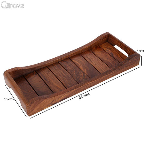 Natural Brown Serving Tray In Sheesham Wood (Set of 2)