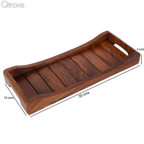 Wooden HandCrafted Serving Tray In Sheesham Wood