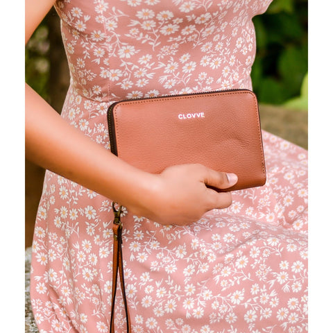Monochrome Leather Tan Wristlet