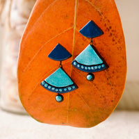Eco-Friendly Turquoise Blue Terracotta Earring