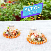 Floral Bangle: Designer Dry Flower Botanical Diya/Candle Holders (Set of 2)