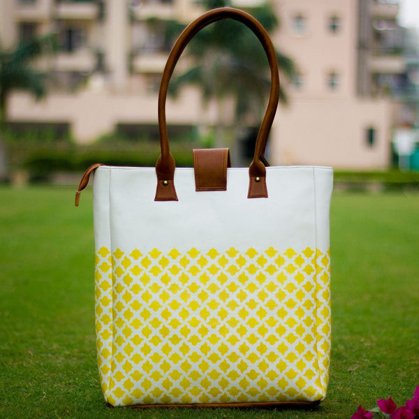 The Buttercup Yellow Jaali Elegant Tote