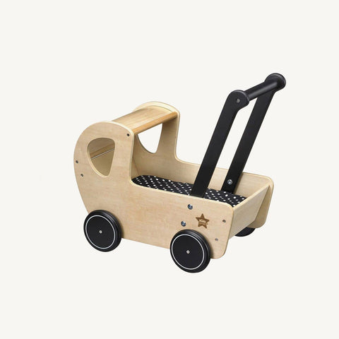 Natural Wooden Dolls Pram