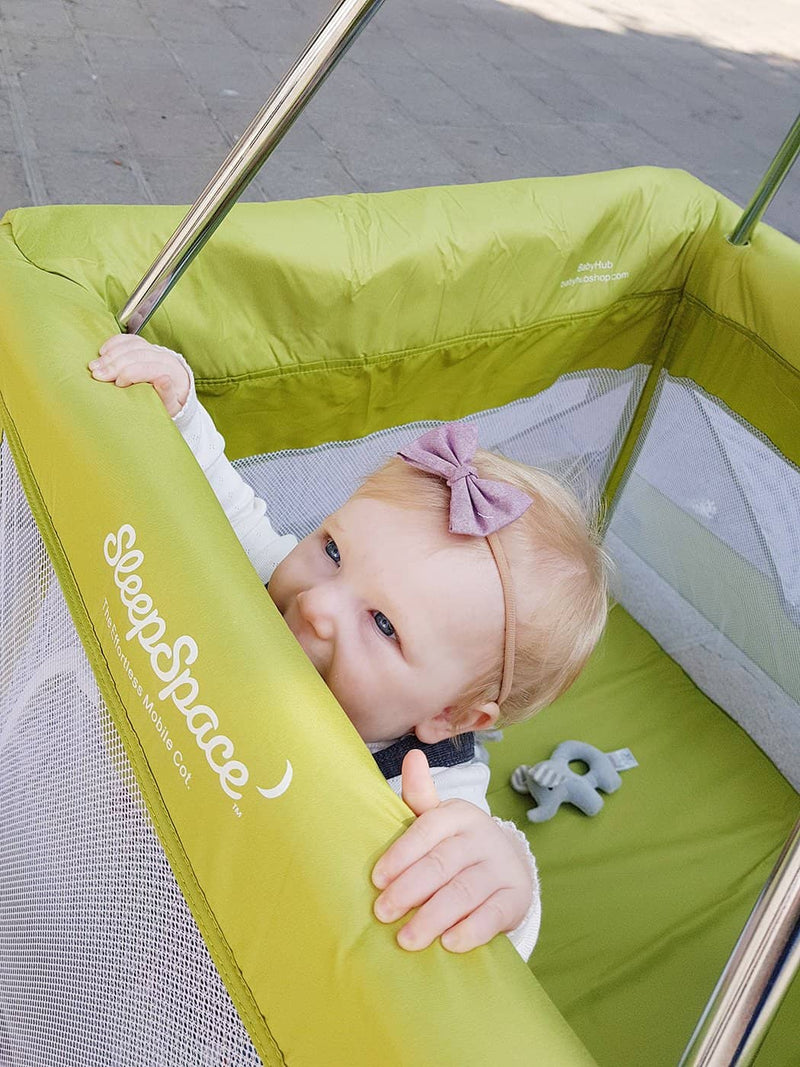 SleepSpace Travel Cot With Teepee Cover And Mosquito Net - Kiwi / Green, Travel Cot, BabyHub - All Mamas Children