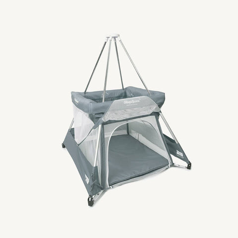 SleepSpace Travel Cot With Teepee Cover And Mosquito Net - Pebble / Grey, Travel Cot, BabyHub - All Mamas Children