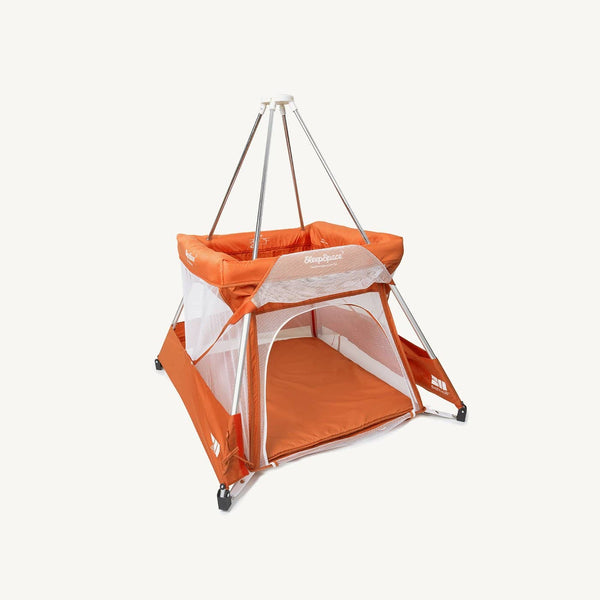 SleepSpace Travel Cot With Teepee Cover And Mosquito Net - Tangerine / Orange, Travel Cot, BabyHub - All Mamas Children