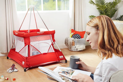SleepSpace Travel Cot With Teepee Cover And Mosquito Net - Ruby / Red, Travel Cot, BabyHub - All Mamas Children