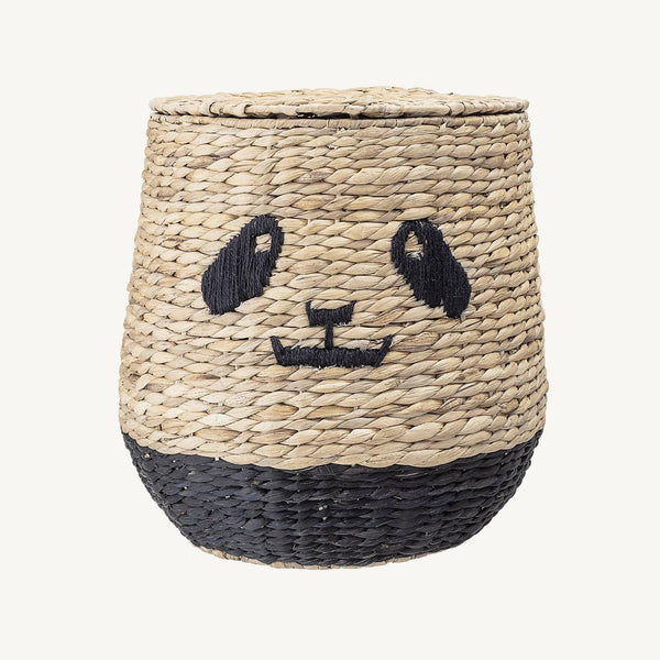Bloomingville - Panda Storage Basket With Lid in Water Hyacinth, Storage Basket, Bloomingville - All Mamas Children