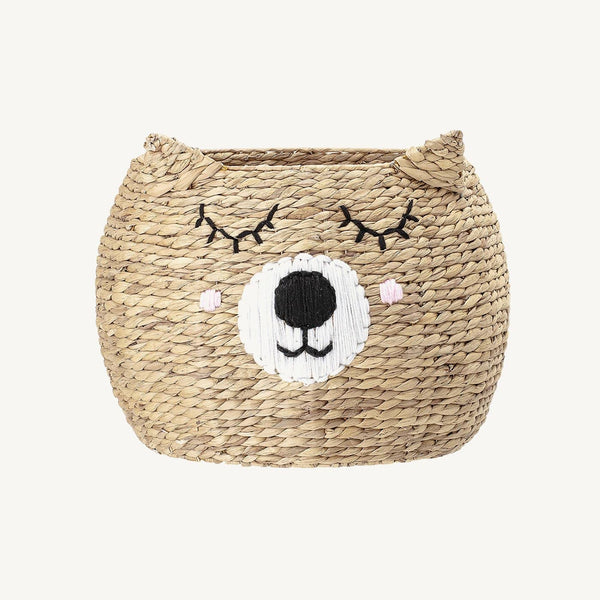Bloomingville - Eman Bear Storage Basket With Lid in Water Hyacinth - All Mamas Children