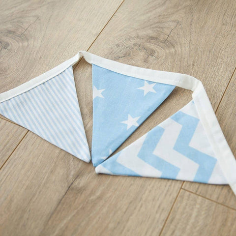This beautiful handmade bunting is perfect for a boy's nursery, bedroom or playroom. It comes in 3 stylish fabrics, all lovingly handmade from 100% cotton.