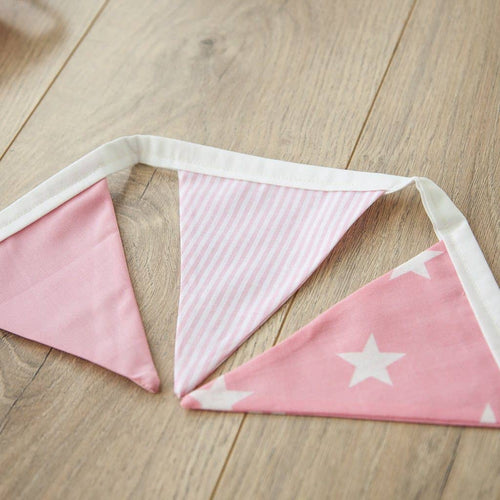 This beautiful handmade bunting is perfect for a girl's nursery, bedroom or playroom. It comes in 3 stylish fabrics, all lovingly handmade from 100% cotton.