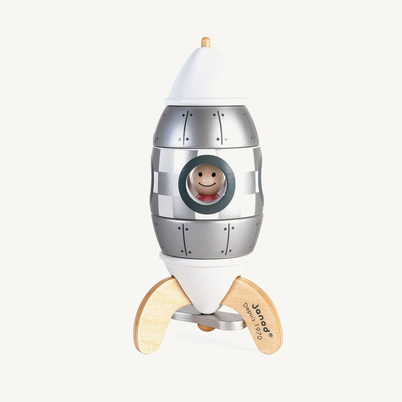 Janod - Limited Edition Silver Magnetic Wooden Rocket (16cm), Puzzle, Janod - All Mamas Children