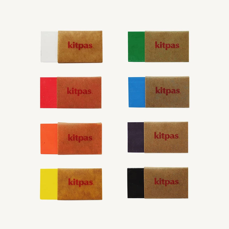 Kitpas Crayon Blocks 8 Colours - For Use On Multiple Surfaces Including Windows, Mirrors, Whiteboards and Paper, Colouring Crayons, Kitpas - All Mamas Children