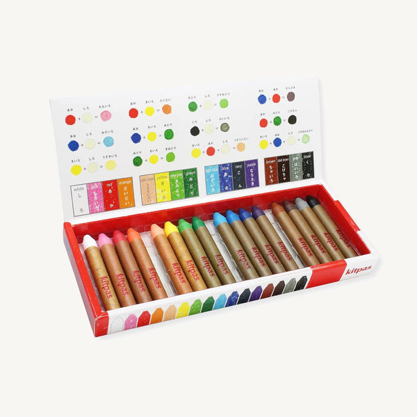 Kitpas Medium Crayons 16 Colours - For Use On Multiple Surfaces Including Windows, Mirrors, Whiteboards and Paper - All Mamas Children