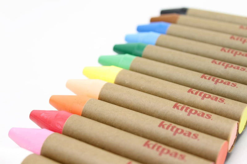 Kitpas Large Crayons 12 Colours - For Use On Multiple Surfaces Including Windows, Mirrors, Whiteboards and Paper, Colouring Crayons, Kitpas - All Mamas Children