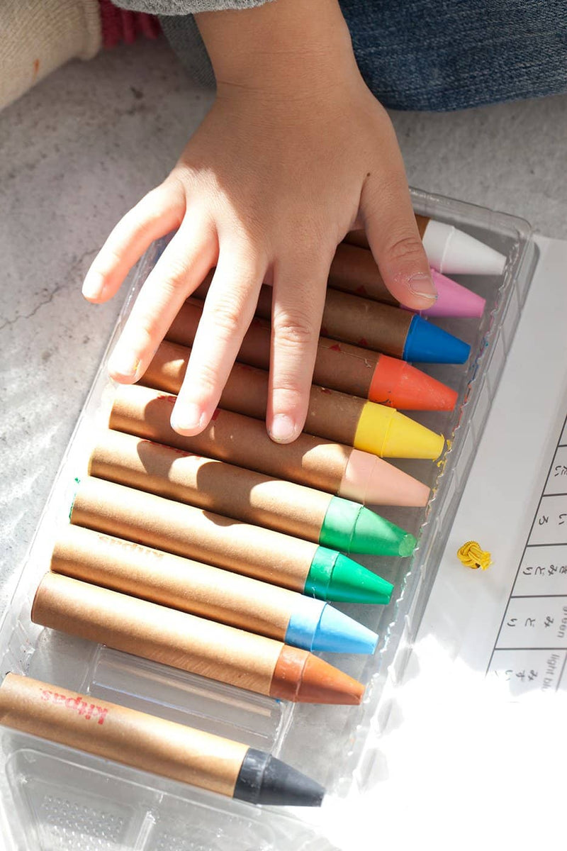 Kitpas Large Crayons 12 Colours - For Use On Multiple Surfaces Including Windows, Mirrors, Whiteboards and Paper - All Mamas Children
