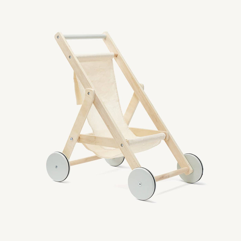 Kid's Concept - Dolls Stroller in Natural Wood and Cotton - All Mamas Children