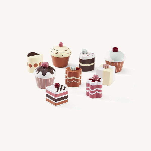 Set of 9 Wooden Toy Cakes and Pastries, Kitchen Toys, Kids Concept - All Mamas Children