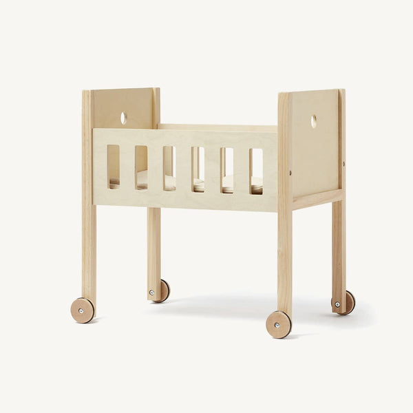 Kid's Concept - Dolls Bed in Natural Rubber Wood, Dolls Cradle, Kids Concept - All Mamas Children