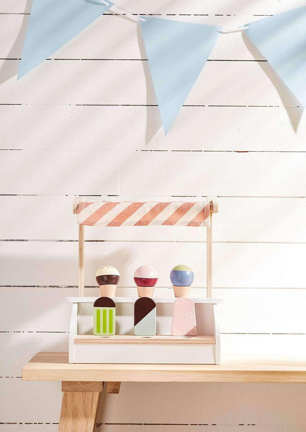 Ice Cream Stand With 6 Ice Creams Cones and Ice Lollies, Kitchen Toys, Kids Concept - All Mamas Children