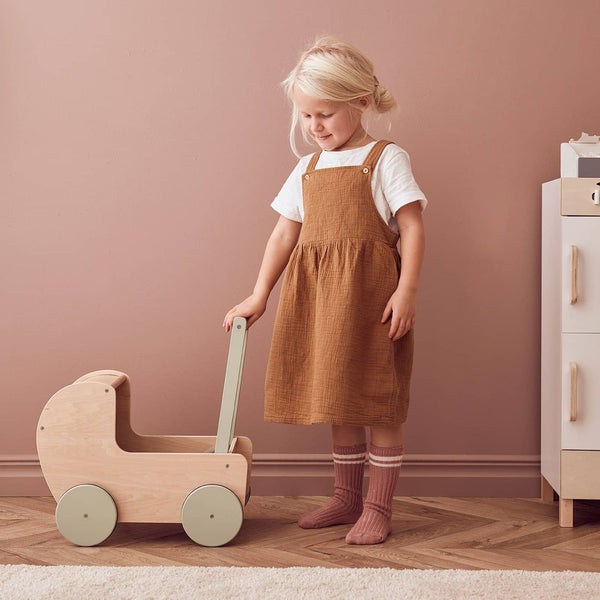 Kid's Concept - Wooden Dolls Pram Natural / Dusty Green - All Mamas Children