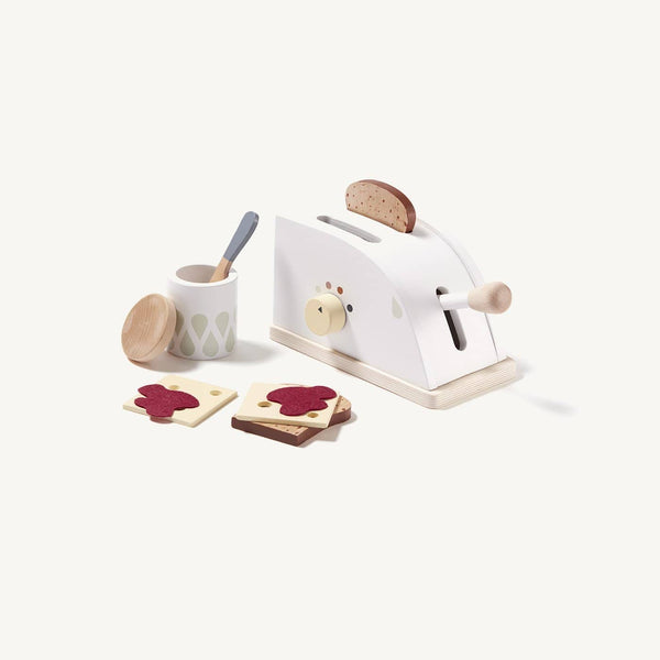 Wooden Toy Toaster Set With 8 Accessories, Kitchen Toys, Kids Concept - All Mamas Children