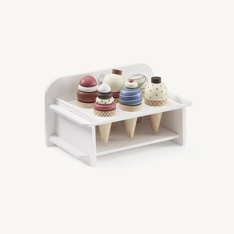 Wooden Ice Cream Rack with 6 Ice Creams, Kitchen Toys, Kids Concept - All Mamas Children