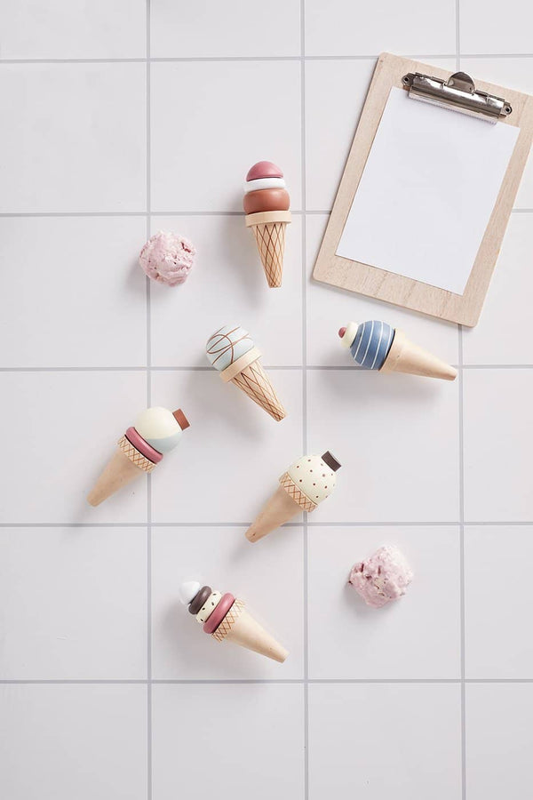 Kid's Concept - Bistro Wooden Ice Cream Rack with 6 Ice Creams, Kitchen Toys, Kids Concept - All Mamas Children