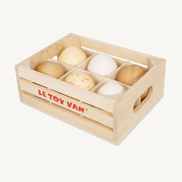 Le Toy Van - Honeybee Market Farm Eggs Half Dozen Crate, Pretend Play, Le Toy Van - All Mamas Children