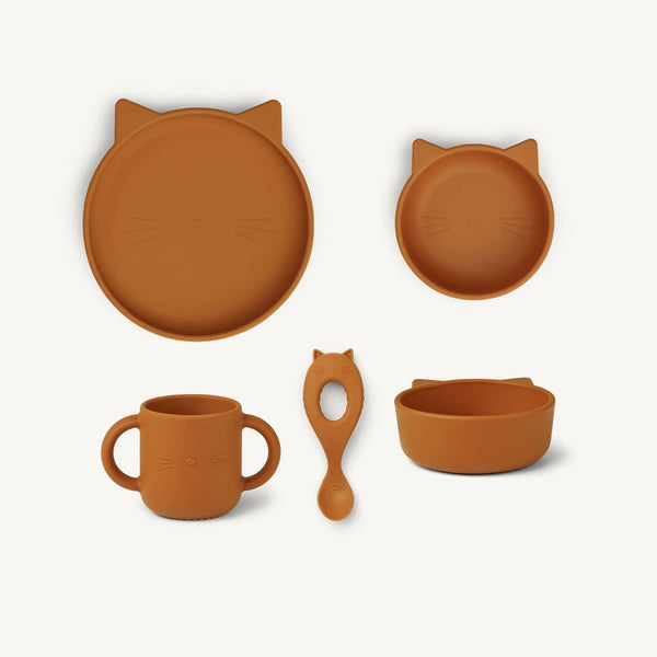 Liewood - Vivi Silicone Tableware 4 pack - Baby - Cat Mustard - All Mamas Children