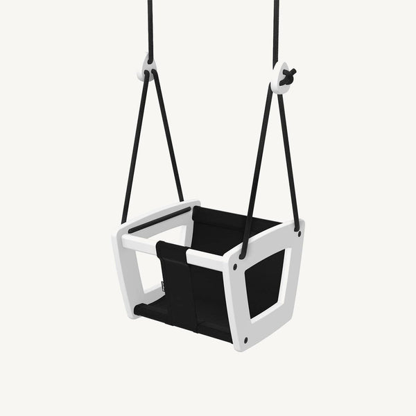 LILLAGUNGA Toddler and Baby Swing - White Birch with Black Leather Seat and Black Ropes, Swing, Lillagunga - All Mamas Children