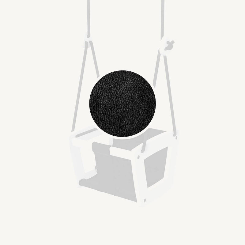 LILLAGUNGA Toddler and Baby Swing - White Birch with Black Leather Seat and Black Ropes - All Mamas Children