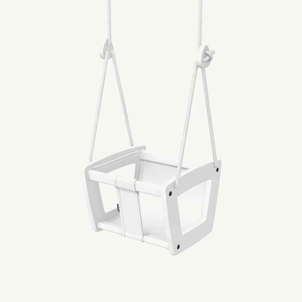 LILLAGUNGA Toddler and Baby Swing - White Birch with White Leather Seat and White Ropes, Swing, Lillagunga - All Mamas Children
