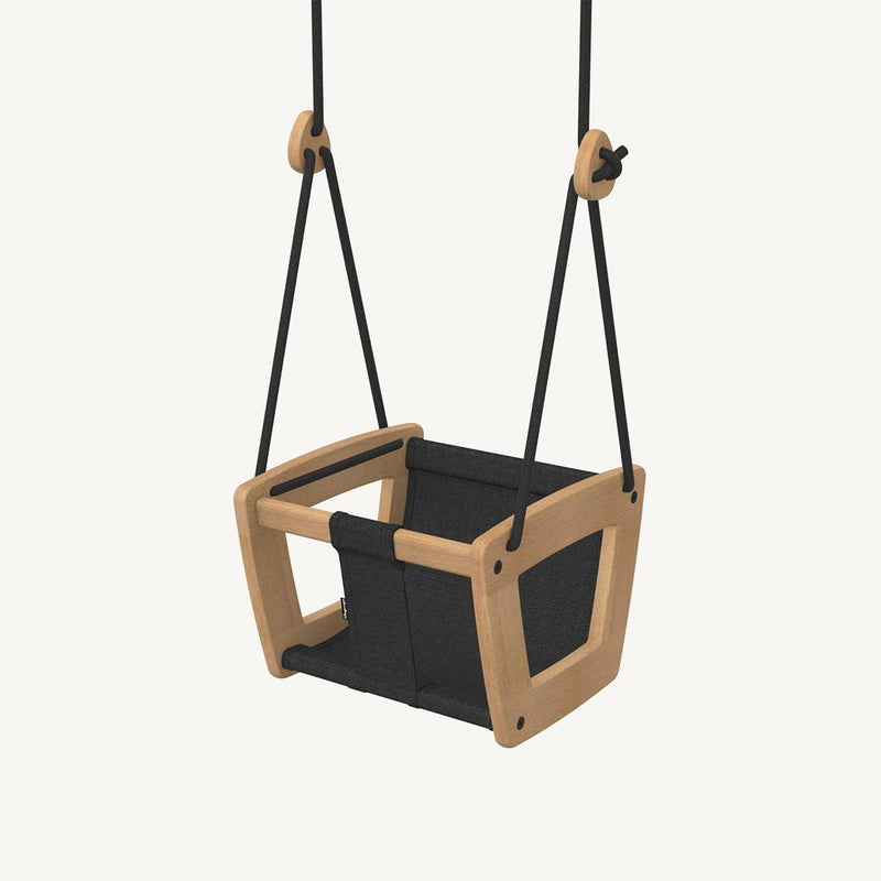 LILLAGUNGA Toddler and Baby Swing - Oak with Black Dice Fabric Seat and Black Ropes - All Mamas Children