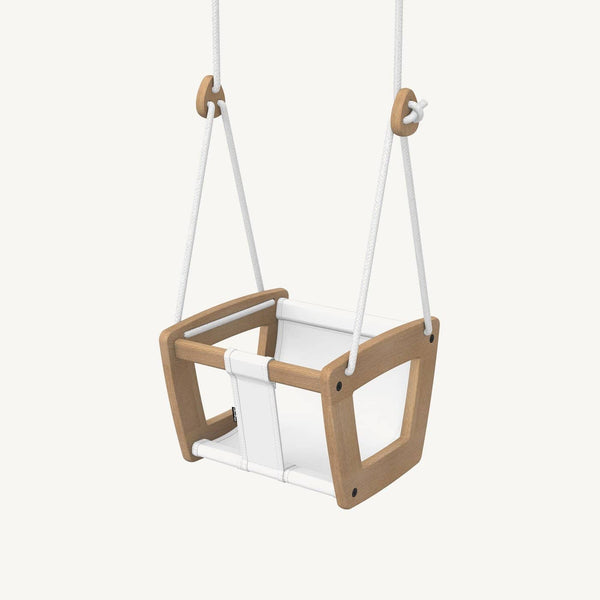 LILLAGUNGA Toddler and Baby Swing - Oak with White Leather Seat and White Ropes, Swing, Lillagunga - All Mamas Children