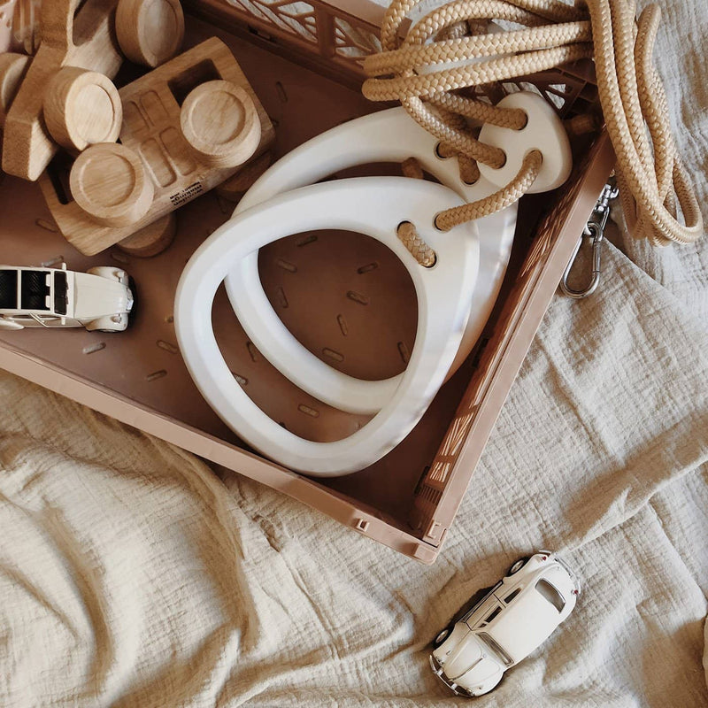 LILLAGUNGA Gym Rings - White Birch with Beige Ropes, Gym Rings, Lillagunga - All Mamas Children