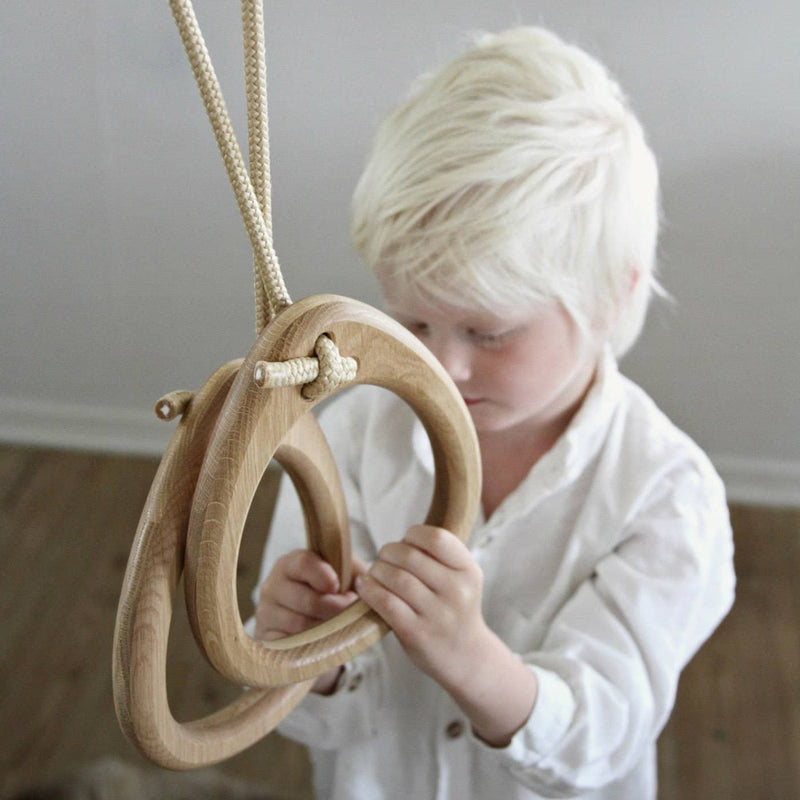 LILLAGUNGA Gym Rings - Oak with Beige Ropes, Gym Rings, Lillagunga - All Mamas Children