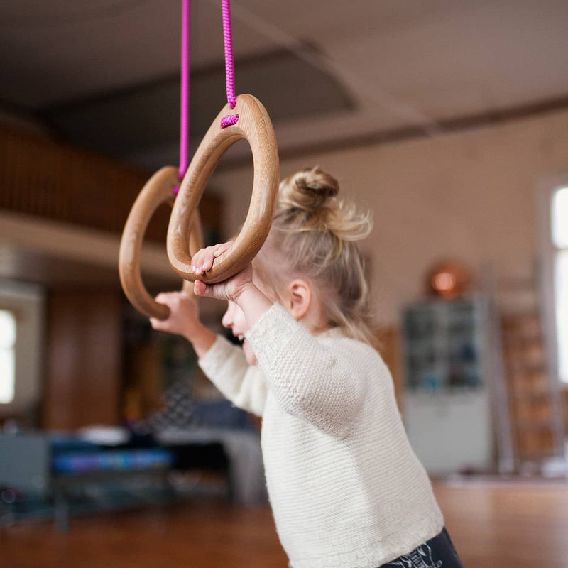 LILLAGUNGA Gym Rings - Oak with Fuchshia Ropes, Gym Rings, Lillagunga - All Mamas Children