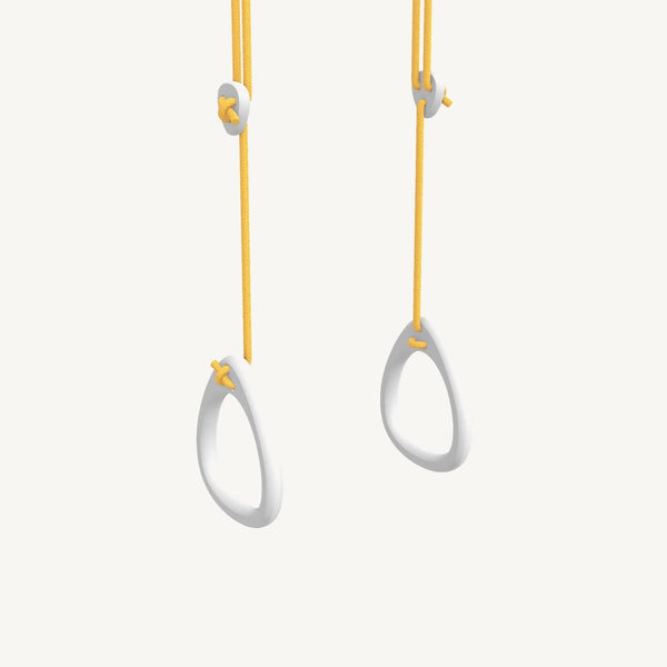 LILLAGUNGA Gym Rings - White Birch with Yellow Ropes, Gym Rings, Lillagunga - All Mamas Children
