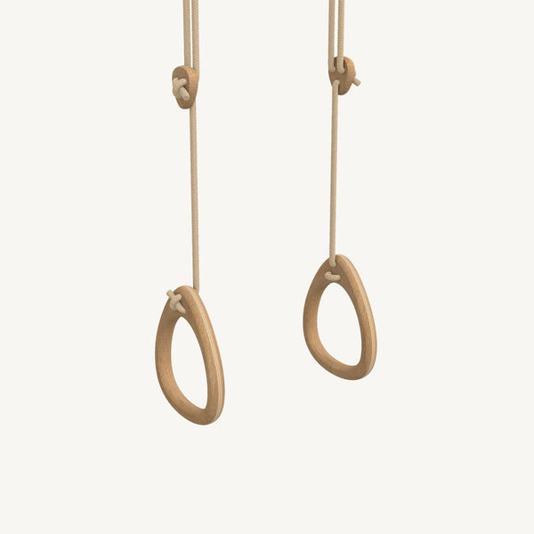 LILLAGUNGA Gym Rings - Oak with Beige Ropes - All Mamas Children