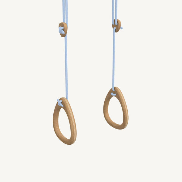 LILLAGUNGA Gym Rings - Oak with Blue Ropes, Gym Rings, Lillagunga - All Mamas Children