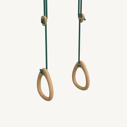 LILLAGUNGA Gym Rings - Oak with Green Ropes, Gym Rings, Lillagunga - All Mamas Children
