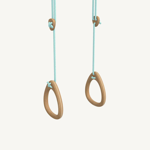 LILLAGUNGA Gym Rings - Oak with Mint Ropes, Gym Rings, Lillagunga - All Mamas Children