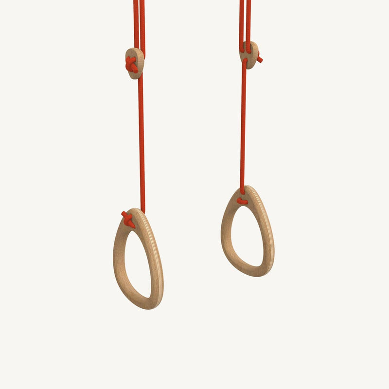 LILLAGUNGA Gym Rings - Oak with Red Ropes - All Mamas Children