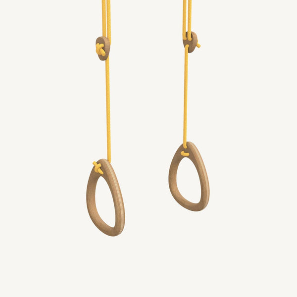LILLAGUNGA Gym Rings - Oak with Yellow Ropes, Gym Rings, Lillagunga - All Mamas Children