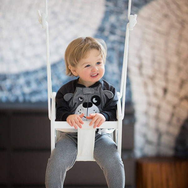 LILLAGUNGA Toddler and Baby Swing - White Birch with Almond Dice Fabric Seat and Black Ropes, Swing, Lillagunga - All Mamas Children